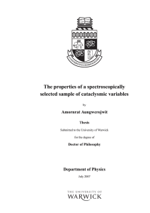 The properties of a spectroscopically selected sample of cataclysmic variables Amornrat Aungwerojwit