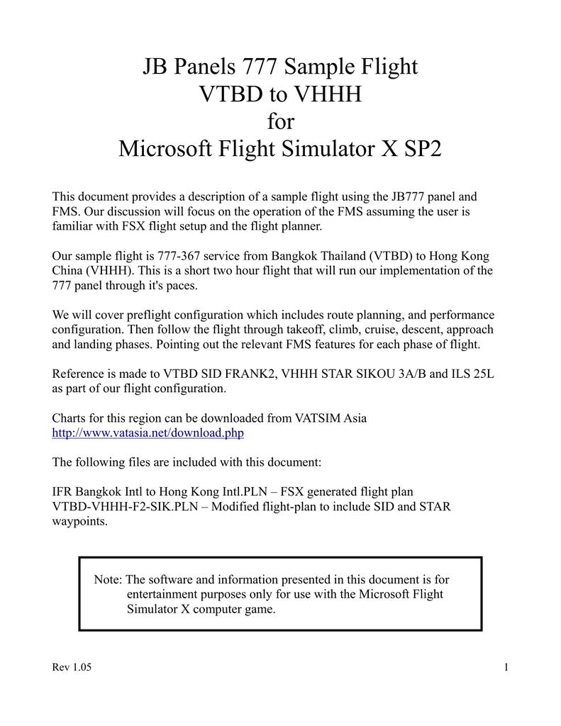 JB Panels 777 Sample Flight VTBD to VHHH for
