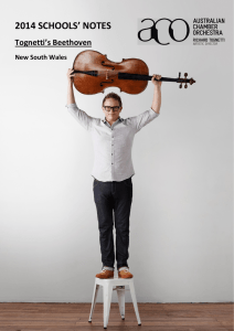 2014 SCHOOLS' NOTES Tognetti's Beethoven New South Wales