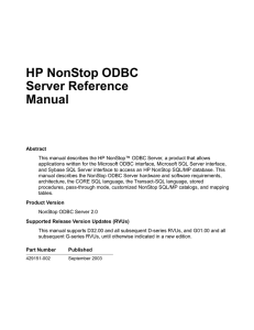 ODBC Server Reference Manual