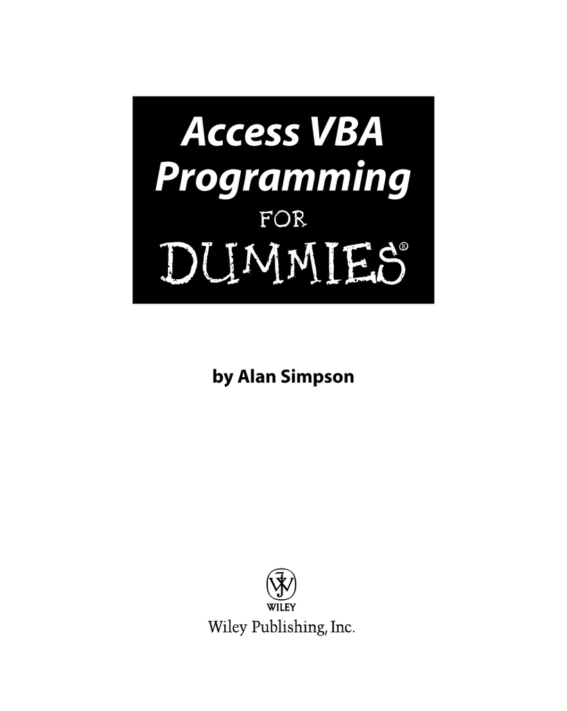 Access VBA Programming For Dummies – Pace