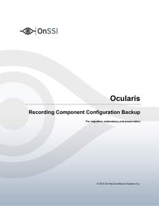 Ocularis Recording Component Configuration Backup