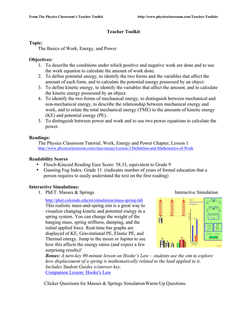 Teacher Toolkit Topic - The Physics Classroom