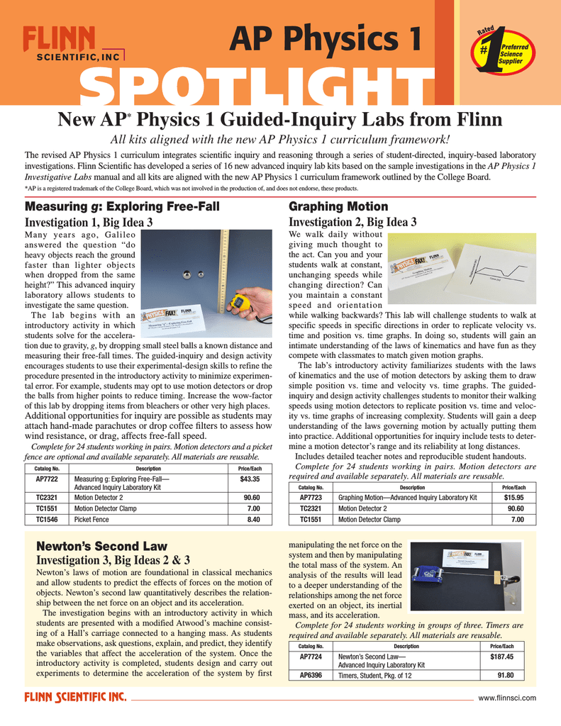 AP Physics 1 New AP Physics 1 Guided-Inquiry Labs from Flinn
