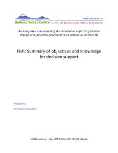 Fish: Summary of objectives and knowledge for decision support