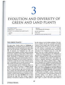 EVOLUTION AND DIVERSITY OF GREEN AND LAND PLANTS