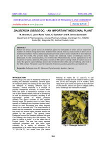 dalbergia sissoo dc. - an important medicinal plant