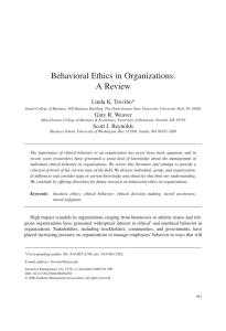 Behavioral Ethics in Organizations: A Review