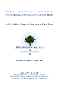 Dr. Jay Black: Excellence Lecture Paper Spring 2003