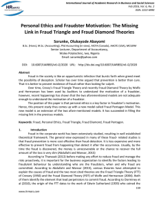 Personal Ethics and Fraudster Motivation: The Missing Link in Fraud