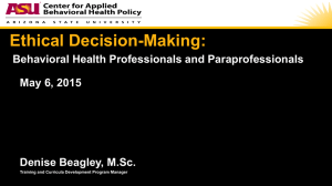Ethical Decision-Making: - Center for Applied Behavioral Health Policy
