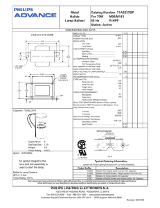 Metal Halide Lamp Ballast Catalog Number 71A5237BP For 70W