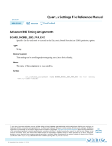 Quartus Settings File Reference Manual