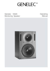 Genelec 1032A Monitoring Speaker Operating