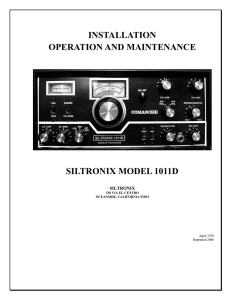 installation operation and maintenance siltronix model 1011d