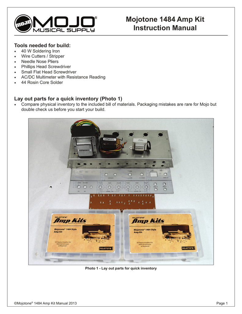 Mojotone 1484 Amp Kit Manual