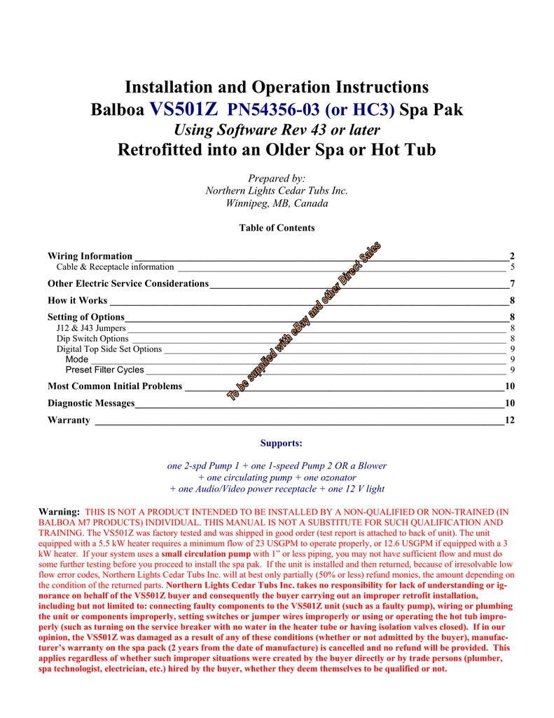 Installation and Operation Instructions Balboa VS501Z PN54356 on balboa heater, balboa control diagram, spa diagram, balboa control panel, balboa schematic,