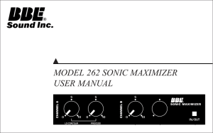 MODEL 262 SONIC MAXIMIZER USER MANUAL