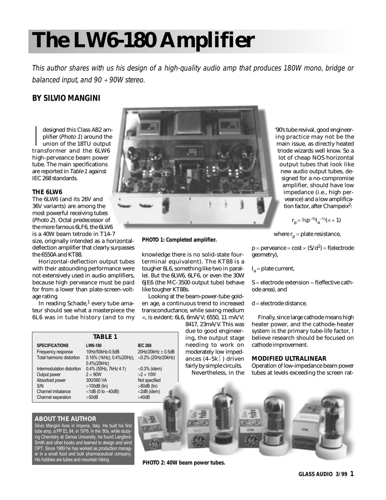 The LW6-180 Amplifier