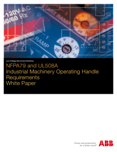 NFPA79 and UL508A Industrial Machinery Operating Handle
