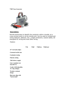 77HP Tone Generator Description: Permits technicians to identify