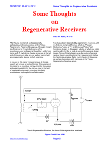 Some Thoughts on Regenerative Receivers