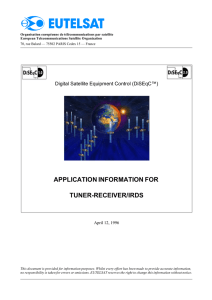 Application Information for Tuner-Receiver/IRDs