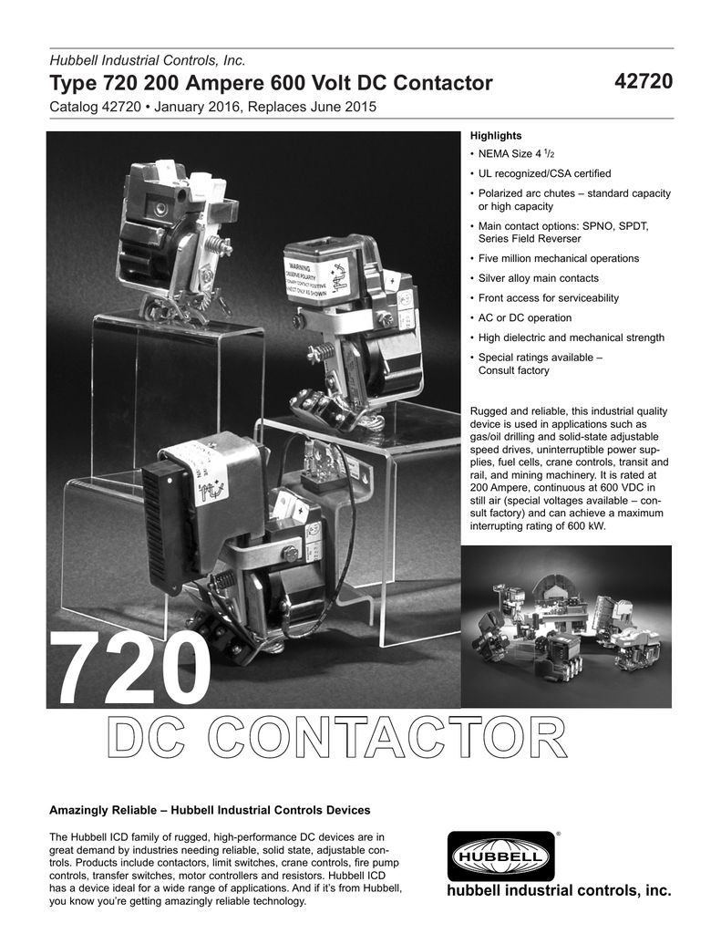 Type 720 200 Ampere 600 Volt DC Contactor