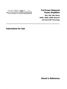 Full Power Balanced Power Amplifiers Instructions for Use