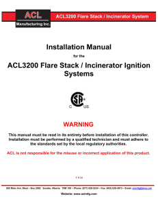 Installation Manual ACL3200 Flare Stack / Incinerator Ignition Systems