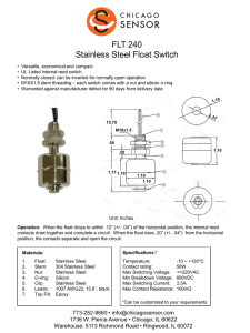FLT 240 Stainless Steel Float Switch