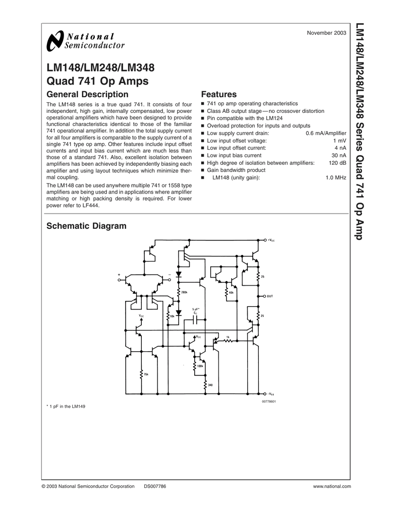 Lm348 Pdf The 741 Opamp Is A Common General Purpose Operational Amplifier
