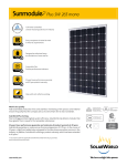 SolarWorld Sunmodule™ solar panel 265 watt mono data sheet
