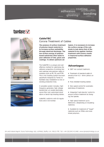 CableTEC Corona Treatment of Cables Advantages: