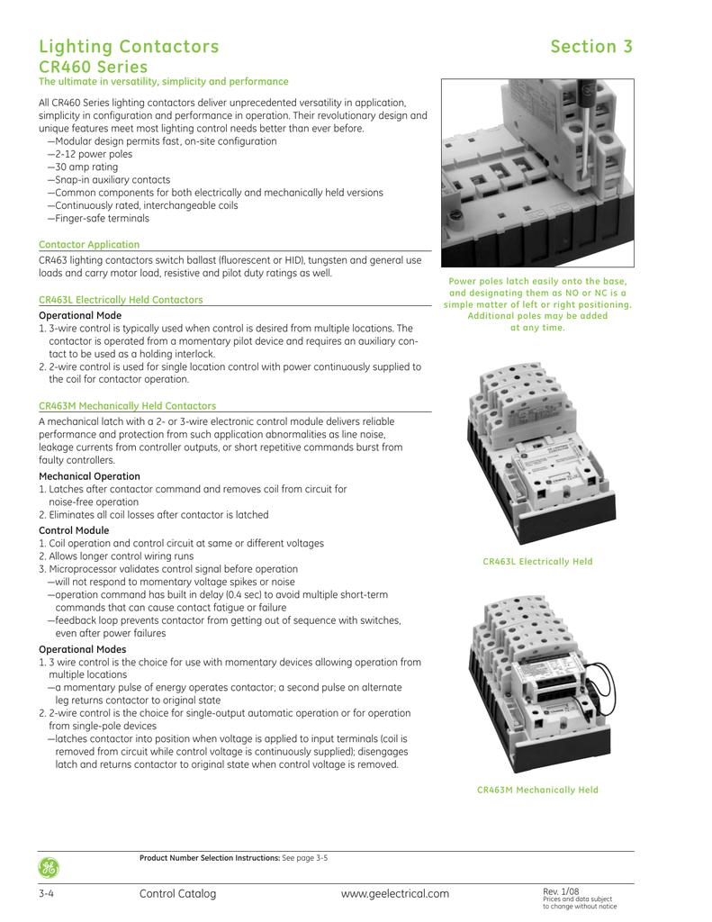 ge control catalog section 3 lighting contactors