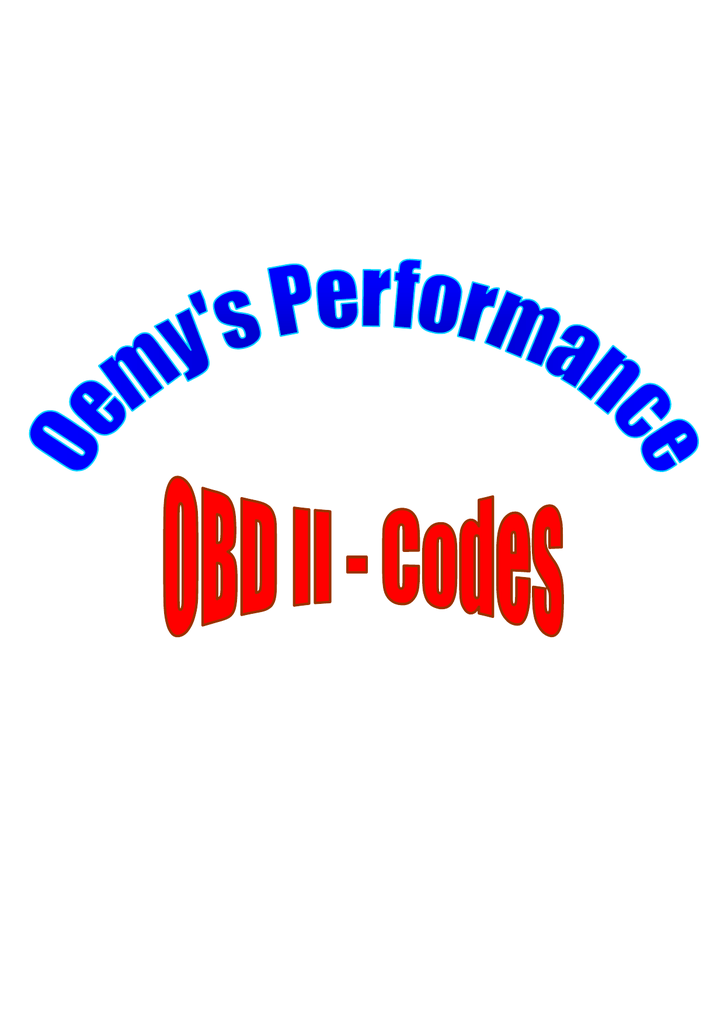 OBD II Codes - Oemys Performance