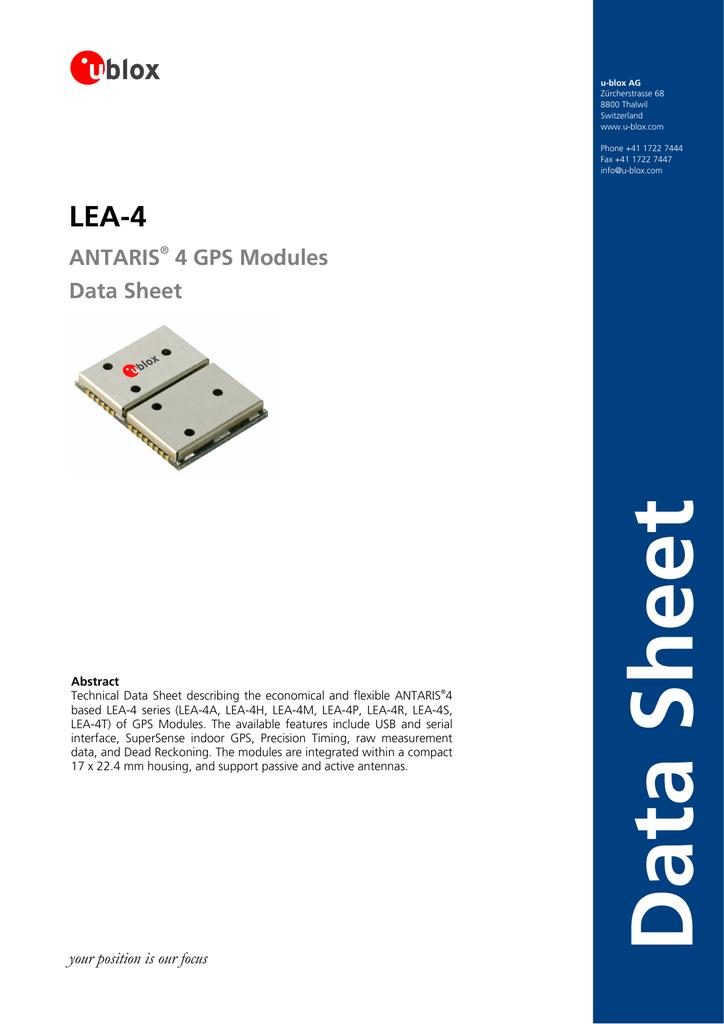 ANTARIS® 4 GPS Modules Data Sheet