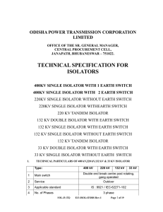 technical specification for isolators