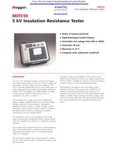 Megger MIT510 Resistance Tester Specification Sheet