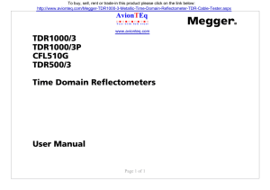 Megger TDR1000/3 Time-Domain Reflectometer User Manual