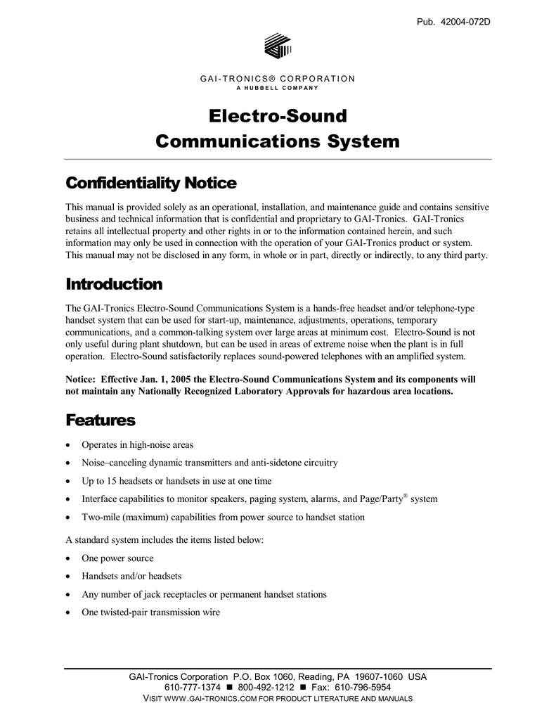 Electro-Sound Communications System - GAI on