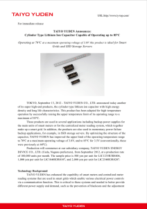 TAIYO YUDEN Announces: Cylinder Type Lithium Ion Capacitor