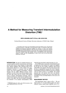 A Method for Measuring Transient Intermodulation Distortion (TIM)*