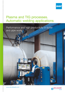 Plasma and TIG processes. Automatic welding applications