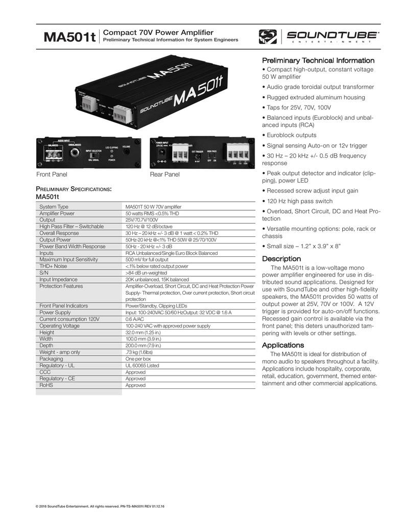 Ma501t Compact 70v Power Amplifier Soundtube 30 Watt Audio Schematic