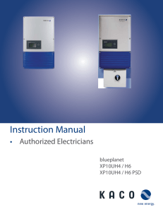 Instruction Manual • Authorized Electricians blueplanet