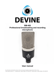 BM-400 Professional broadcasting and recording microphone User manual