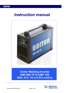 Instruction manual Unitor Welding Inverter UWI 500 TP & UWF 102