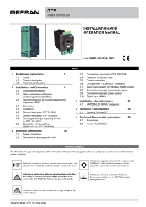 GTF INSTALLATION AND OPERATION MANUAL