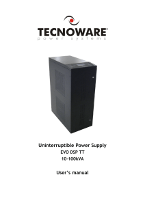 Uninterruptible Power Supply User's manual EVO DSP TT